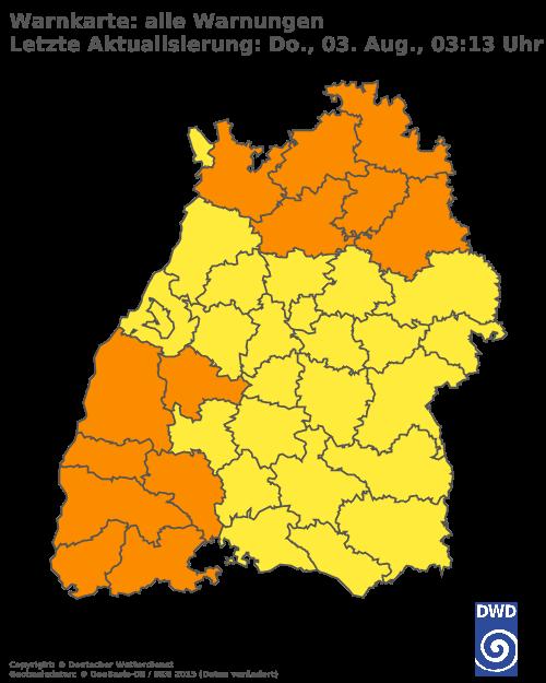 Aktuelle Wetterwarnungen für Ludwigsburg